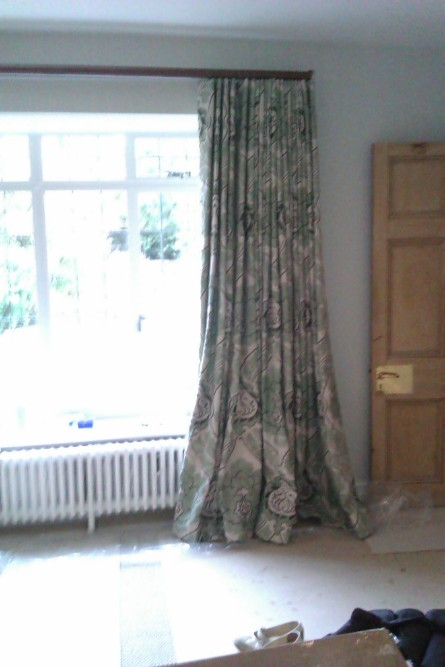 Mock wave interlined curtains in paradiso portinari by nina campbell on Walcot House tracked pole - Lower Slaughter