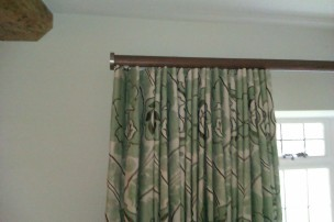 Mock wave interlined curtains in paradiso portinari by nina campbell on Walcot House tracked pole