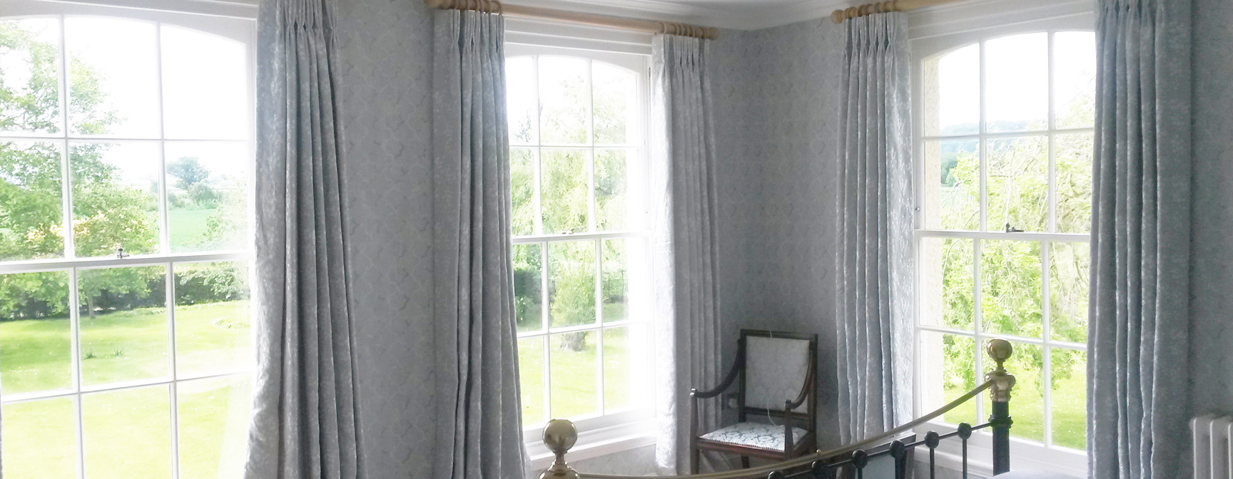 Lined and interlined pinch/triple pleat curtains - Made to measure curtains in Gloucestershire