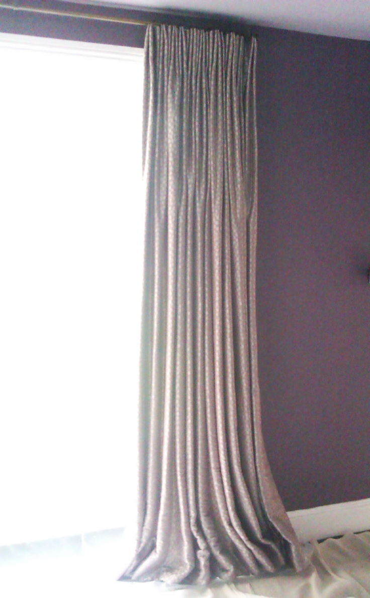 Euro pleat curtains - Romo Black fabric - Stow on the Wold