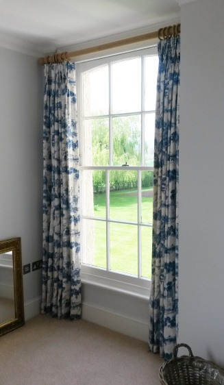 Toile de jouy lined and interlined triple / pinch pleat made to measure curtains, Dumbleton