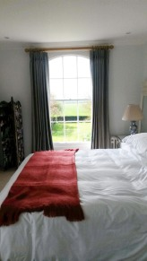 Ian Mankin striped lined and interlined triple / pinch pleat made to measure curtains, Dumbleton