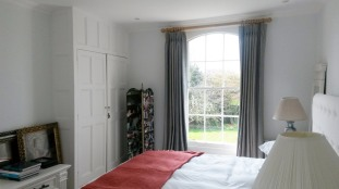 Ian Mankin lined and interlined triple / pinch pleat made to measure curtains, Dumbleton