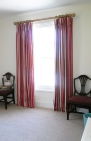 Red striped triple pleat curtains