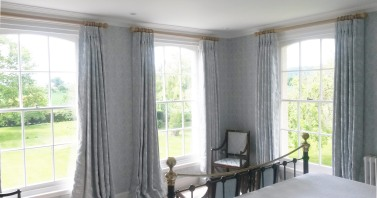 Linen embroidered triple pleat interlined curtains