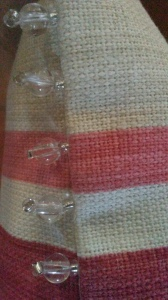 Bead trim detail on bespoke cushion in Laura Ashley fabric