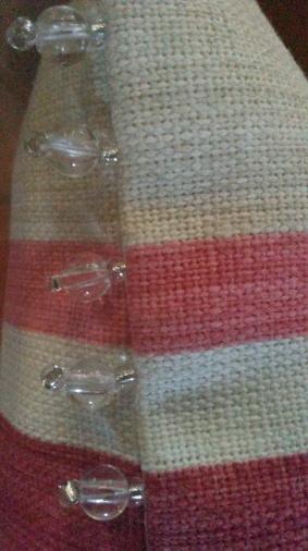 Bead trim detail on bespoke cushion in Laura Ashley fabric