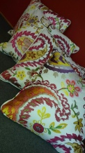 Bespoke piped and zipped cushions in Baker Makasar fabric