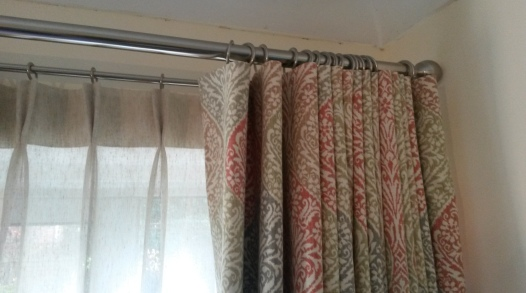 Double curtain pole - mock wave curtain and double pleat linen voile, Bishops Cleeve