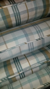 Piped and zipped check cushions bespoke Winchcombe