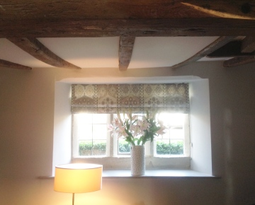 Interlined roman blind, Warwick fabric - Made to measure, Lower Slaughter