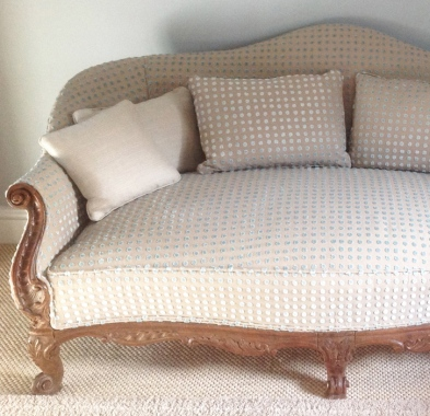 Harlequin momentum fabric for cushions and reupholstered Louis IV sofa
