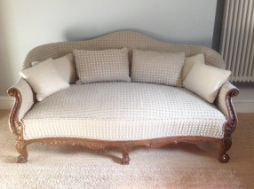 Cushions for reupholstered Louis IV sofa