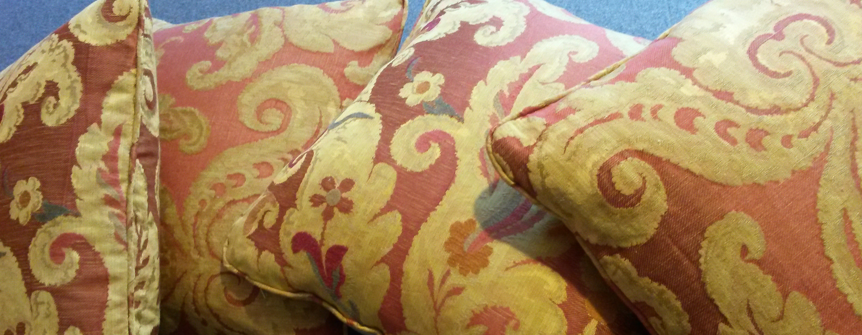 Piped and zipped Zoffany damask cushions - bespoke Gloucestershire