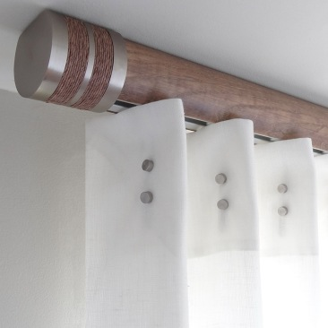 50mm ceiling fix american walnut stained pole with bobbin finial - silver track