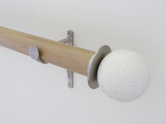 50mm colour wash stained wood cotswold oak curtain pole set ceramic crackle finials stainless steel hardware