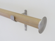 50mm colour wash stained wood cotswold oak curtain pole set end cap finials stainless steel hardware