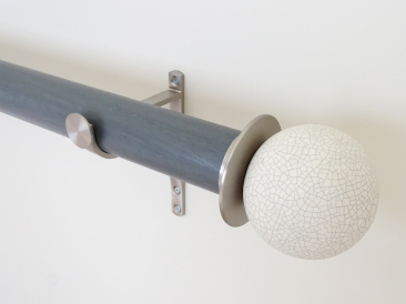 50mm colour wash stained wood seal curtain pole set stainless steel ceramic finials