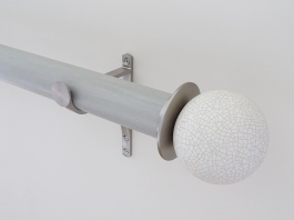 50mm colour wash stained wood wood pigeon curtain pole set ceramic crackle finials stainless steel hardware