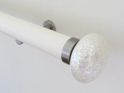 50mm Soft white matt lacquered pole with trocca satin riva ellipse SS