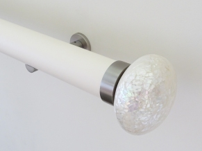 50mm Soft white matt lacquered pole with trocca satin riva ellipse SS