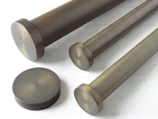 group brushed bronze curtain pole set mini disc finials