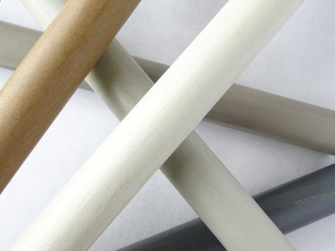 group stained_wood_curtain_poles