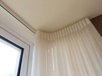 Floor to ceiling linen effect voile with wave heading. Gloucestershire curtain maker