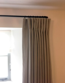Cotswold Barn conversion near Cheltenham - mock wave curtains on 19mm black French style curtain pole