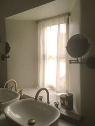 Linen Muslin privacy sheer in Cotswold Barn conversion near Cheltenham
