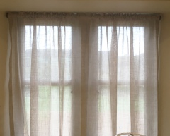 Linen Muslin privacy sheers in Cotswold Barn conversion, Gloucestershire