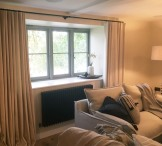 Cotswold Barn - Mock wave curtains in Designers Guild corduroy on French 19mm curtain pole