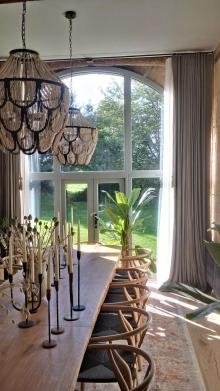 Cheltenham - Double curtain pole with 4m long inverted pleat curtains and sheers, with rope pulls.